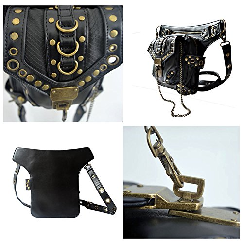 Cestlafit Vintage Leather Shoulder Bag, Steampunk Punk Borsa, Vita Di Cuoio Imballa, Sacchetto Gotico, Nero, CFB002