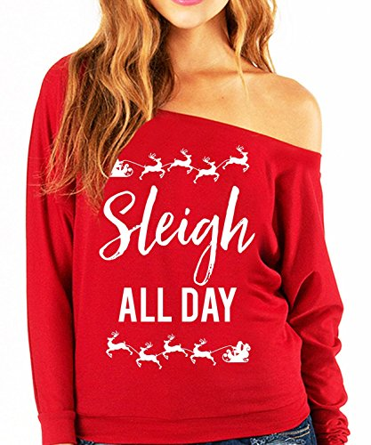 95818bf4389ae1 Sleigh All Day Christmas Slouchy Sweatshirt Red by NoBull Woman (XX-Large)