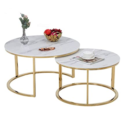 Ywt 2 Piece Coffee Table Artificial Marble And Gold Frame