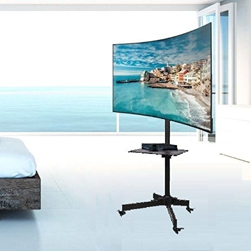 EEMM Furniture Pedestal Cart Rolling Stand Universal TV Stand LED LCD Smart TV Flat Screen Panel Monitor Display Heavy Duty Holder
