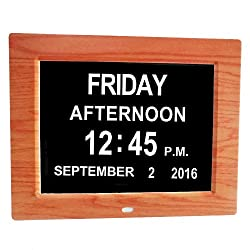 Digital Calendar Day Clock, wood color, Memory Loss Extra Large Non-Abbreviated Day Month Perfect for Seniors (wood color)