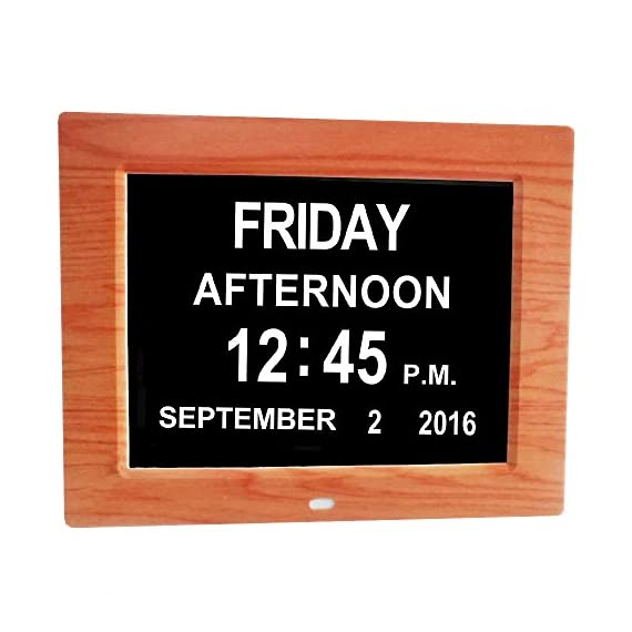 Digital Calendar Day Clock, wood color, Memory Loss Extra Large Non-Abbreviated Day Month Perfect for Seniors (wood color) - This High Resolution 8-inch display clearly spells out the full DAY of the WEEK, MONTH and DATE in large, bold letters with no confusing abbreviations. Many seniors are suffering from memory loss due to dementia, stroke, Alzheimer's or just advancing years, often have difficulty processing abbreviated words. Its glare-free display finish makes for exceptional legibility 8 Different Languages: English, Spanish, French, German, Italian, Polish, Dutch & Welsh to be chosen This clock showed A.M. /P.M. font. Those special loved ones will not confuse morning and night anymore. - clocks, bedroom-decor, bedroom - 51NvPS5EHLL. SS570  -