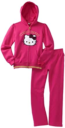 Hello Kitty Big Girls' Fleece Active Set with Velour Applique and Sequin Bow, Fuschia Purple, 10