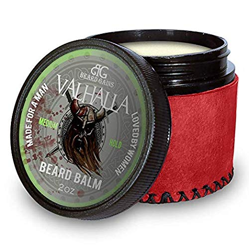 Beard Gains Medium Butter Hold Scented Balm for Men 2oz | Valhalla Luxury Vikings Conditioner | Style, Groom & Grow Facial Hairs W/ Organic and Natural Product | MADE IN USA (2oz)