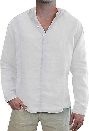 Camisa China de Manga Larga de Color Liso para Hombre de Color Liso para Hombre: Amazon.es: Ropa y accesorios