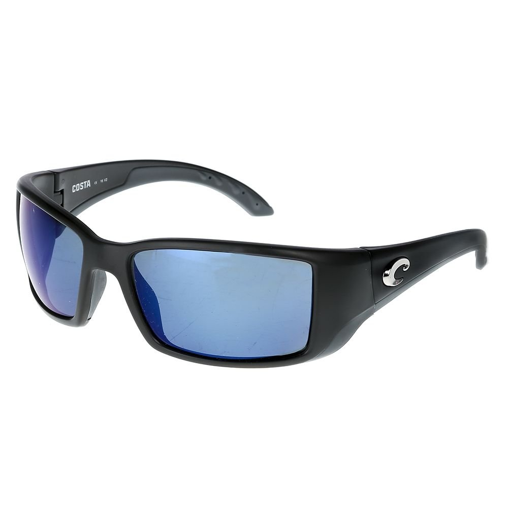 Costa Del Mar Blackfin Sunglasses, Black, Blue Mirror 580 Plastic Lens by Costa Del Mar