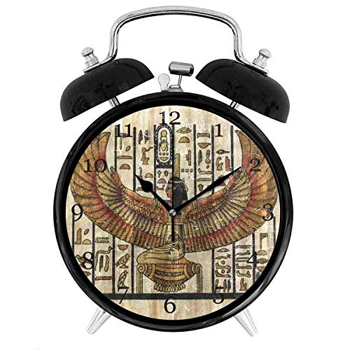 22yiihannz Ancient Religion Egyptian Parchment Alarm Clock,Silent Non-Ticking Clock Art Painting Home Office School Decor- Vintage Double Bell Design - 3.8 inch