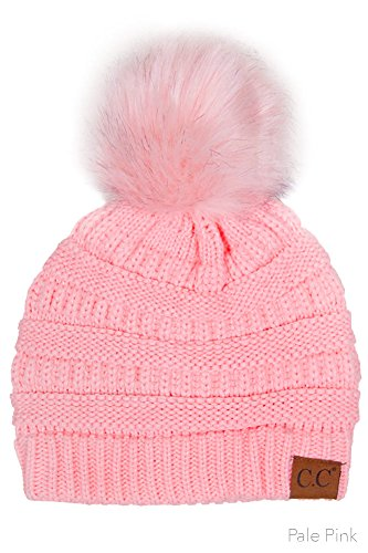 ScarvesMe CC Solid Ribbed Beanie with Fur PomPom (Pale Pink/Pale Pink)