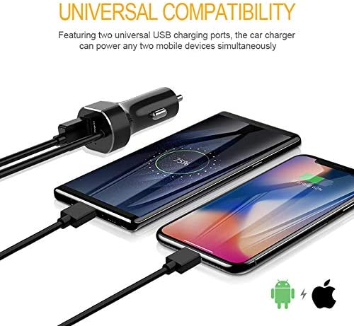 iPad Air Mini Pro Black iPhone Car Charger 30W//4.8A Quick Charge 3.0 USB Car Charger Adapter with Coiled Cable Compatible iPhone XR//XS//X//8//7//6//6S Plus 5S//5C//SE