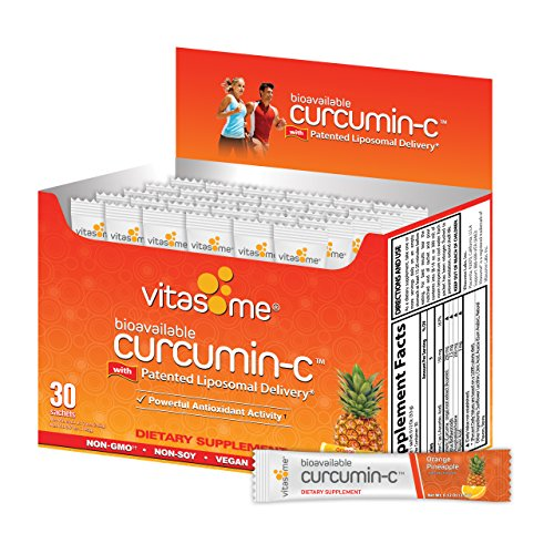 Curcumin-C Liposomal Dietary Supplement for Muscle Aches, Inflammation-Curcuma Longa root extract, Vitamin-C with Citrus Bioflavonoids, Black Pepper, Sunflower Lecithin / 30 Sachets, Orange Pineapple Review