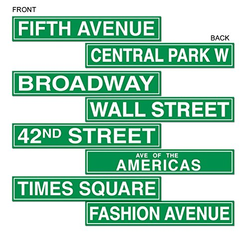 Club Pack of 48 Green New York City Street Sign Cutouts 4