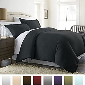 Beckham Hotel Collection Luxury Soft Brushed 1800 Series Microfiber Duvet Cover Set - Hypoallergenic - Full/Queen, Jet Black