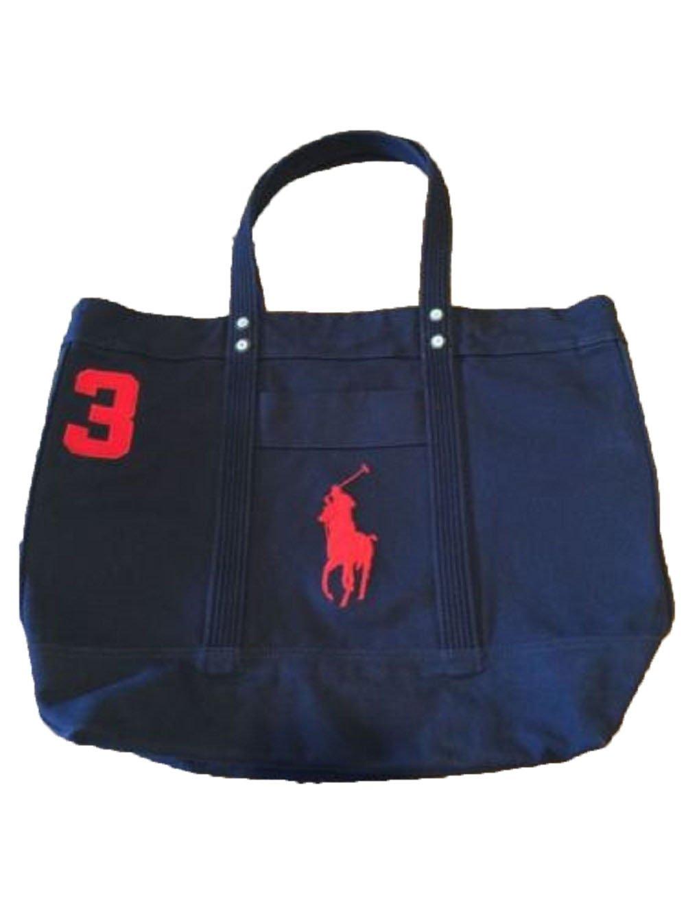 Polo Ralph Lauren Cotton Canvas Big Pony Zip Tote Bag (Aviator Navy)