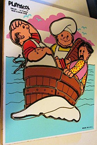(Playskool #290-02 Rub-A-Dub-Dub 12 Piece Wooden Frame Tray Puzzle (Vintage))