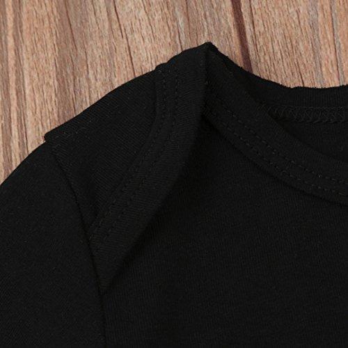 Omiky® Neue Baby Jungen Mädchen Halloween Kürbis Spielanzug Overall + Hosen 3Pcs Set Kleidung Schwarz