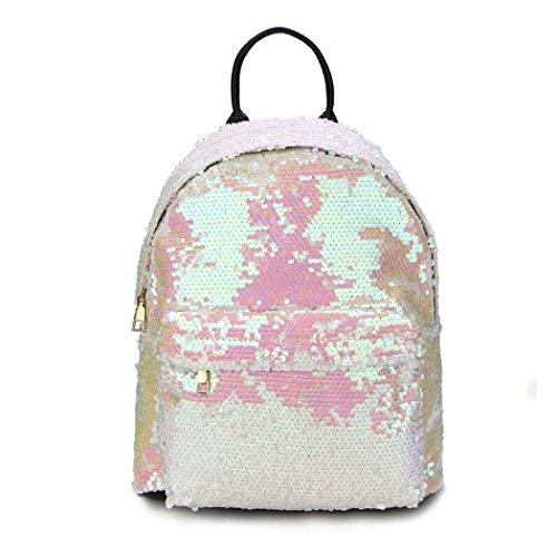 Raylans Girls Sequin Shiny Glitter Mermaid Backpacks Multi Color Beige
