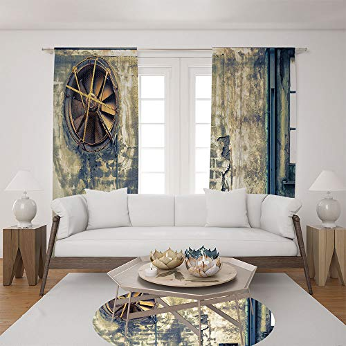 2 Panel Set Satin Window Drapes Living Room Curtains and Round Rug 35.4 inches,Wall Image Destruction Vandalism Broken Deserted,The perfect combination of curtains and Round Rug makes your living room