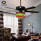 Makenier Vintage Tiffany Style Stained Glass Dragonfly Single-light Lampshade Ceiling Fan Light Kit - with Metal Blades