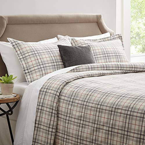 Stone & Beam Rustic Windowpane 100% Cotton Flannel Yarn-Dyed Duvet Set, Full/Queen, Grey and Red