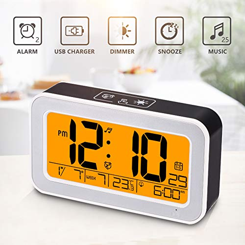 (Music Alarm Clock, Digital Clock for Bedroom with Dimmer, Snooze,USB Rechargeable Clock with Dual Alarm, Smart Touch Backlight,Adjustable Alarm Volume)