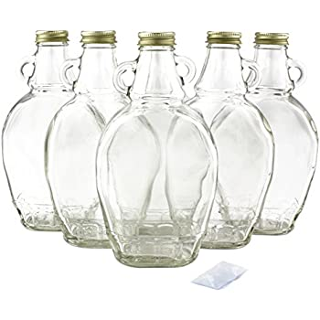 12-Ounce Empty Syrup Bottles for Canning (6-Pack); Includes Metal Lids & Shrink Bands; Clear Glass Bottles Great for Maple / Honey / Berry / Pancake Syrup or Sauces