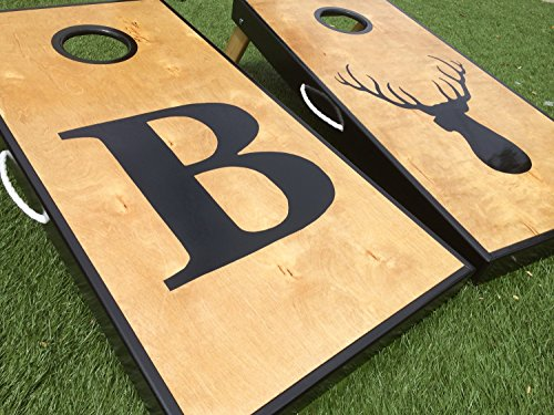 Big Letter and Deer Head Custom Cornhole Board Set by West Georgia Cornhole