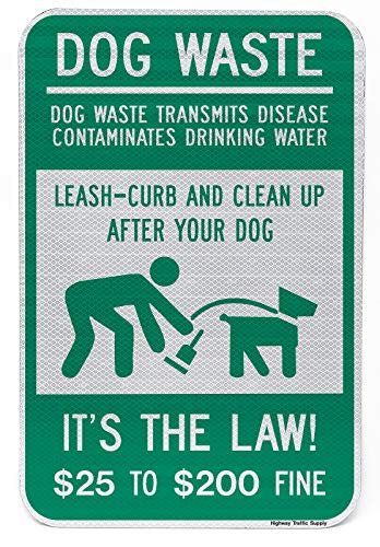 Dog Poop Pick Up & Leash Curb Sign | Encourages Pet Waste Pick Up | Weather Resistant | Aluminum & Reflective Materials | 12