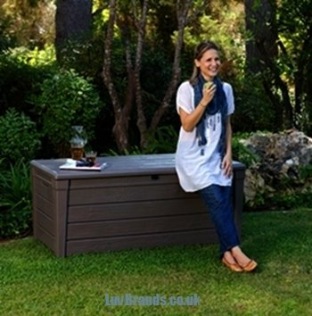 Keter - Banco de almacenaje para jardín, diseño con efecto madera (455 L) diseño con efecto madera (455 L)