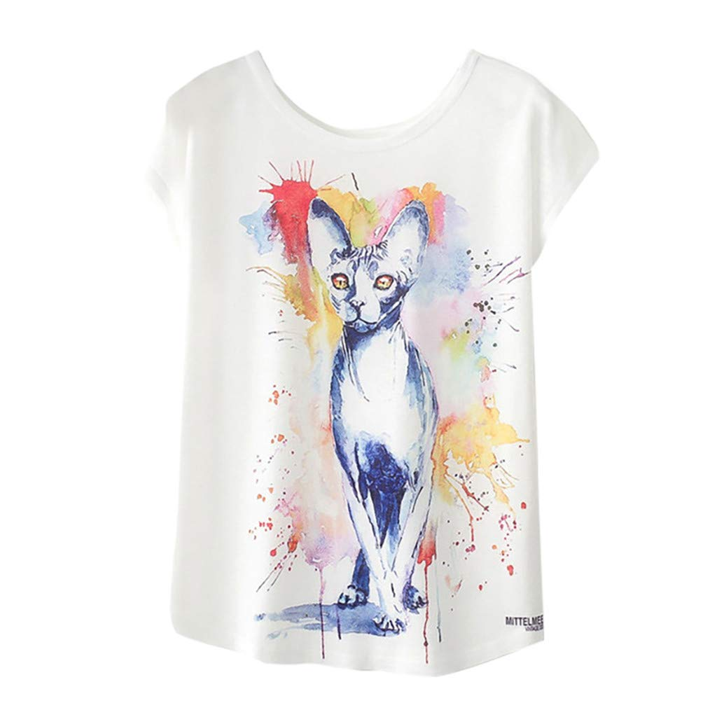 Toponly Tunic Shirts For Women Casual Short Sleeve Tee Tops O-Neck Geometric Animal Print Blouse T shirt