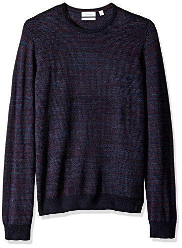 Calvin Klein Men's Merino Space Dye Stripe Crew Neck Sweater, Blue, Large (Space Dye Pullover compare prices)