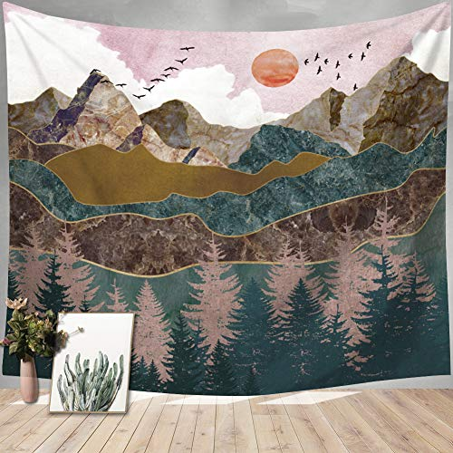 Indusleaf Psychedelic Mountain Forest Tapestry - Large Pink Tapestry Wall Hanging for Girls Home Room Sunset Tapestry Wall Decor Dorm Room Nature Landscape Hanging Tapestry