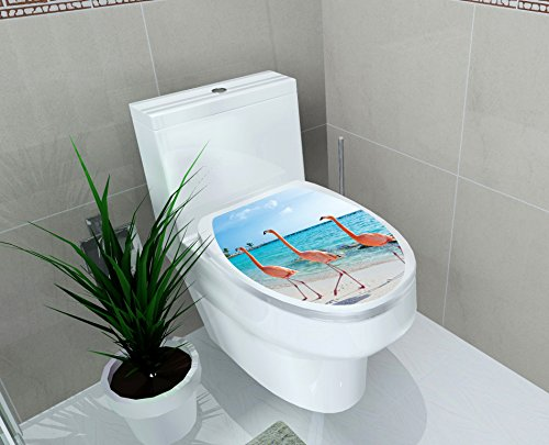 Homefind Toilet Seat Decals Cute Three Flamingos are Walking on The Beach Removable Waterproof Toilet Seat Wall Stickers for Washroom Bathroom Shower Room Decors 11.8