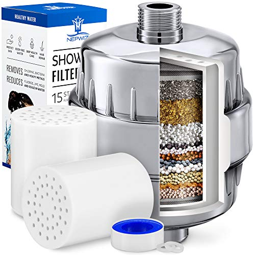 15 Stage Shower Filter with Vitamin C for Hard Water - 2 Replacement Cartridges Kit - Shower Water Filter Removes Chlorine - Reduces Flouride & Chloramine - For Any Showerhead & Filtered Shower Head