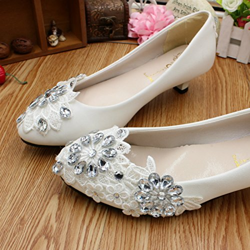 3CM heel and wedding Customize Spring party Si shoes Rhinestones Flowers Women's height bride summer lace dress handmade and and bridesmaid banquet amp; 1q8HS8Bw