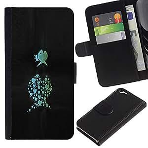 KLONGSHOP // Tirón de la caja Cartera de cuero con ranuras para tarjetas - Pescados divertidos - Apple Iphone 6 //