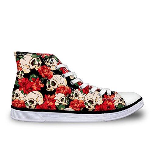 Sneaker Alto In Canvas Stampato Con Teschi Ideato Da Donna Per Uomo Donna Skull 6