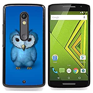 For Motorola Verizon DROID MAXX 2 / Moto X Play - Blue Owl Furry Baby Bird Grumpy Drawing Art /Modelo de la piel protectora de la cubierta del caso/ - Super Marley Shop -
