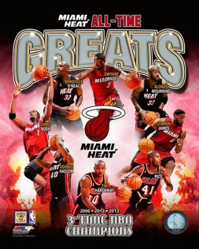 Miami Heat Photograph (Miami Heat All Time Greats 3 Time NBA Champions Composite 8x10)