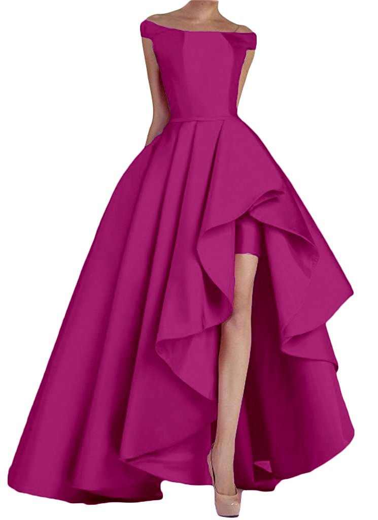 NANWUJI Fuchsia Women's Off Shoulder Long Evening Prom Dresses High Low Formal Gowns