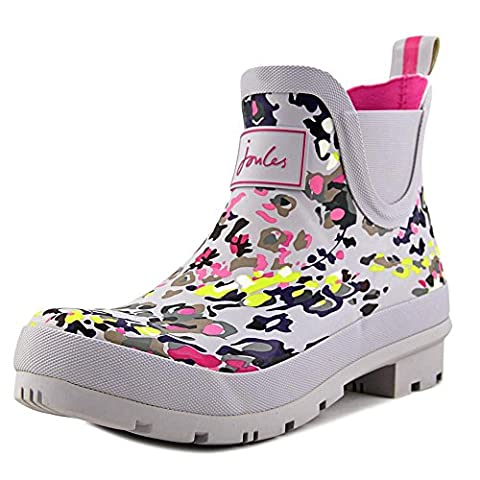 Joules Women's Wellibob Rain Boot, Silver Scatter, 9 M US - Wellies