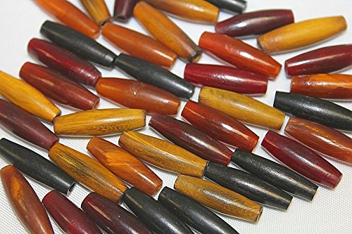 Beads Horn Amber - Horn Beads - Hand Crafted - 40 Beads / Pack - Unique and Natural Colors - Mix - Red, Black, Burnt & Amber
