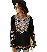 Higustar Women's Long Sleeve Shirts Bohemian Embroidered Mexican Boho Blouses Casual Loose Spring...