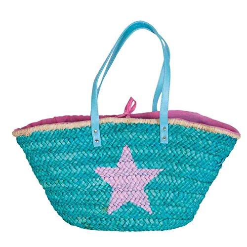 Clayre & Eef bag302Borsa Shopper Borsa da spiaggia cestino cesto turchese stella rosa ca. 68x 20x 32cm