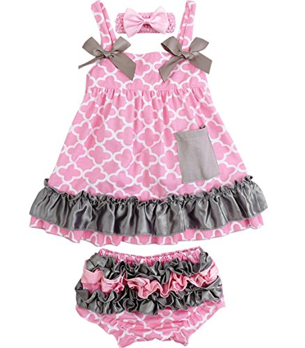 Jubileens 2 PCS Baby Toddlers Infant Girls Cotton Cute Dress+ Underpants Outfit Sets (S(0-6 months), Pink (Outfits With Dresses)