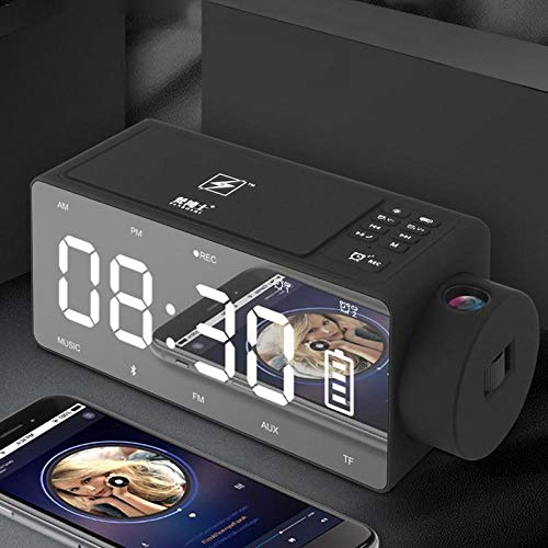 4in1 12V Smart Wireless Charger Fast for iPhone 6/7/8/X Mirror Projector LED Digital with Alarm Clock/Bluetooth Speaker/FM Radio