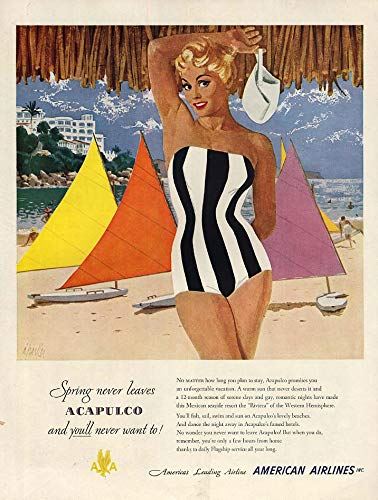 Spring never leaves Acapulco - American Airlines ad 1951 Al Parker pin-up H