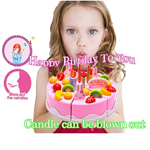 BigNoseDeer Birthday Singing Cake Toy 55 Inch Play Party With Music Sings Happy To You Candle Can Be Blown Out