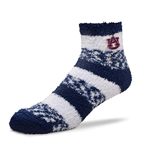 For Bare Feet NCAA RMC Pro Stripe Fuzzy Sleep Soft Sock -Auburn Tigers-Size-Medium ()