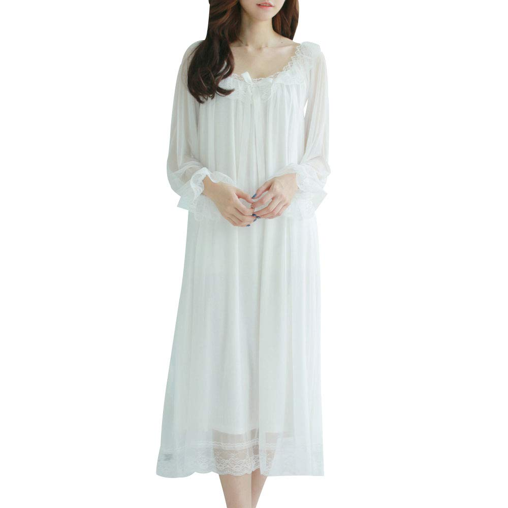 White Gate2Light Women's Sexy Victorian Modal Sleep Dress Retro Sheer Mesh Long Sleeve Nightgown