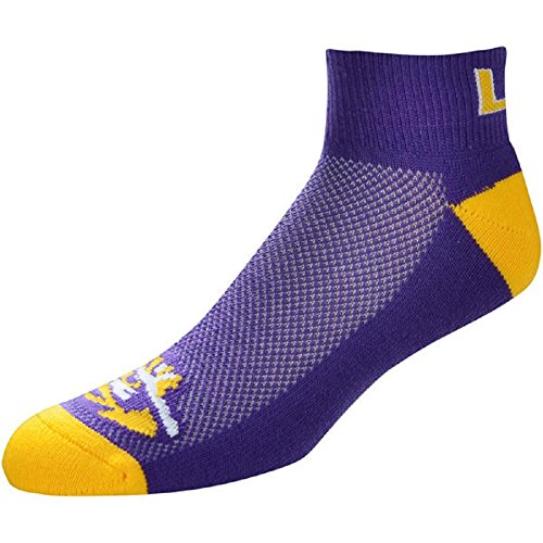 For Bare Feet NCAA Men's Cuff Team Logo Quarter-Length Socks-LSU Tigers-Large(10-13)